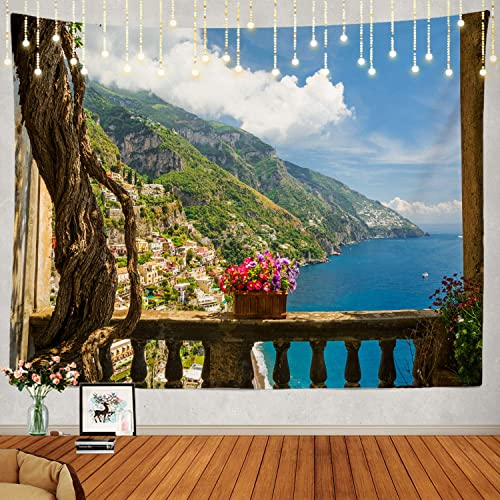 Shrahala Beautiful Tapestry, Positano Amalfi Coast Italy Wall Hanging Large Tapestry Psychedelic Tapestry Decorations Bedroom Living Room Dorm 59.1 x 82.7 Inches, Blue 2