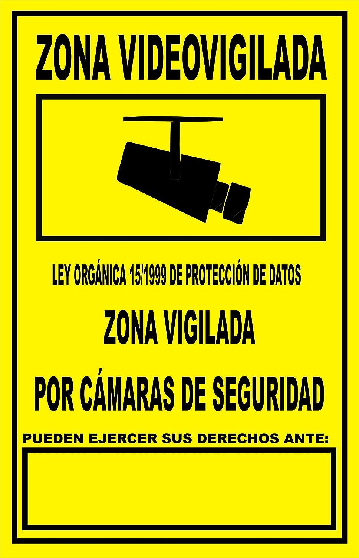 Cartel metálico 30x20cm Zona Videovigilada: Amazon.es ...