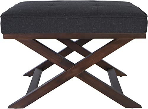 Cortesi Home Ari Traditional X Bench Ottoman in Linen with Walnut Legs, Charcoal