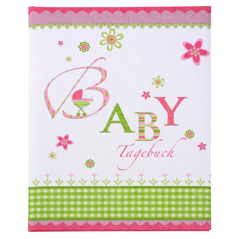 Lovely rosa 21x28 cm Buch ca 21 x 28 cm Tagebuch mit 44 illustrierte Seiten Leinenstruktur Bedruckt Karton goldbuch Babytagebuch 11085