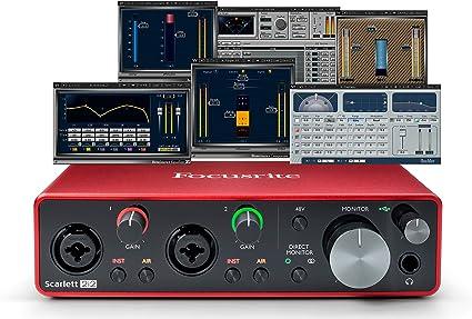 Focusrite Scarlett 2i2 (3ª generación) interfaz de audio USB más Waves Musicians 2 y iZotope Mobius Filtro Bundle: Amazon.es: Instrumentos musicales