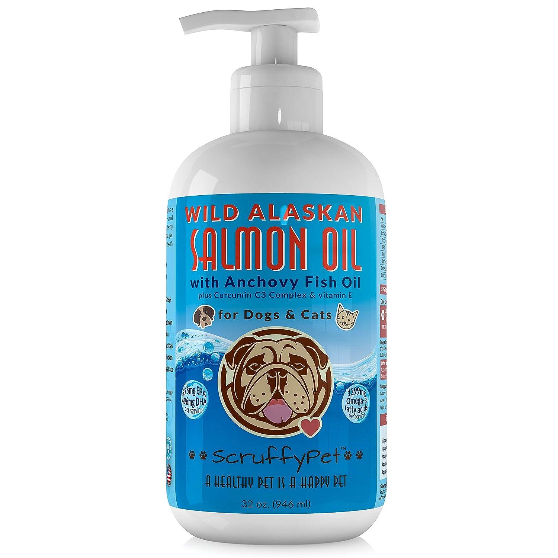 ScruffyPet Pure Wild Alaskan Salmon Oil Blend with Anchovy Fish Oil Curcumin C3 Complex & Vitamin E for Dogs & Cats 32 oz Pump Bottle