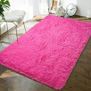 Andecor Soft Fluffy Bedroom Rugs - 4 x 6 Feet Indoor Shaggy Plush Area Rug for Boys Girls Kids Baby College Dorm Living Room Home Decor Floor Carpet, Hot Pink