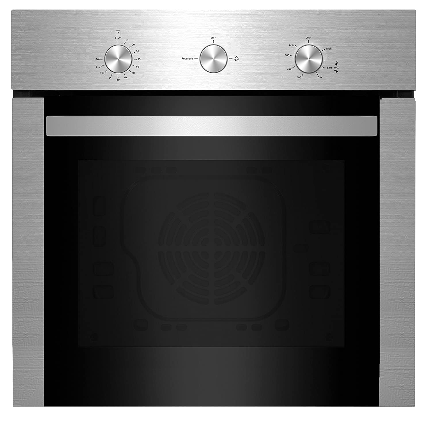 "Empava 24"" Stainless Steel Built-in NG/LPG Convertible Broil/Rotisserie Gas Single Wall Ovens 1500W + 2500W EMPV-24WOD04"