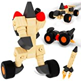 QuadPro 木製 おもちゃ ブロック 車 子供 木のおもちゃ 組み立て 型合わせ 知育玩具 カラフル ナット はめ込み 積み木 オモチャ くるま セット 男の子 女の子 プレゼント(28ピース)