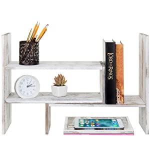 MyGift Whitewashed Wood Adjustable Desktop Office Organizer Display Shelf