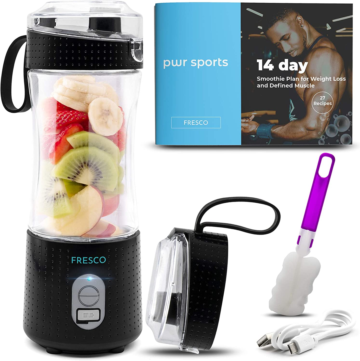 Portable Blender, Personal Size Blender for Shakes and Smoothies, Fruit Smoothie Blender, Milkshake – Juicer Mini Blender 4000 mAh USB Rechargeable with 6 Blades, Handheld use in Sports, Travel, Gym