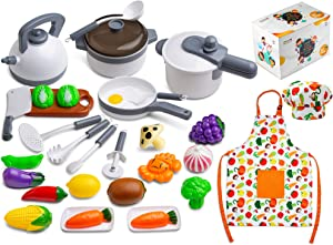Next Milestones 30 Piece Pretend Play Cooking Kitchen Toy Set, Cookware Playset for Toddlers with Pots and Pans, Apron, Chef Hat, Play Food for Kids, Educational Learning Toys for Girls and Boys