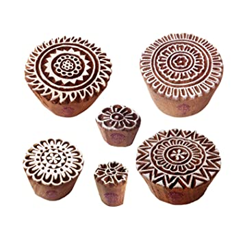 Buy Mehndi Print Blocks Rural Round Floral Pattern Wooden Stamps