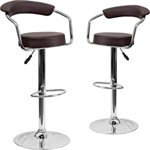 Flash Furniture 2 Pk. Contemporary Brown Vinyl Adjustable Height Barstool with Arms and Chrome Base