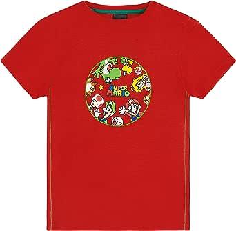 Super Mario Camiseta Niño, Camisetas de Manga Corta Mario Bros, Ropa Niño Algodón, Regalos para Niños y Adolescentes Edad 4-12 Años