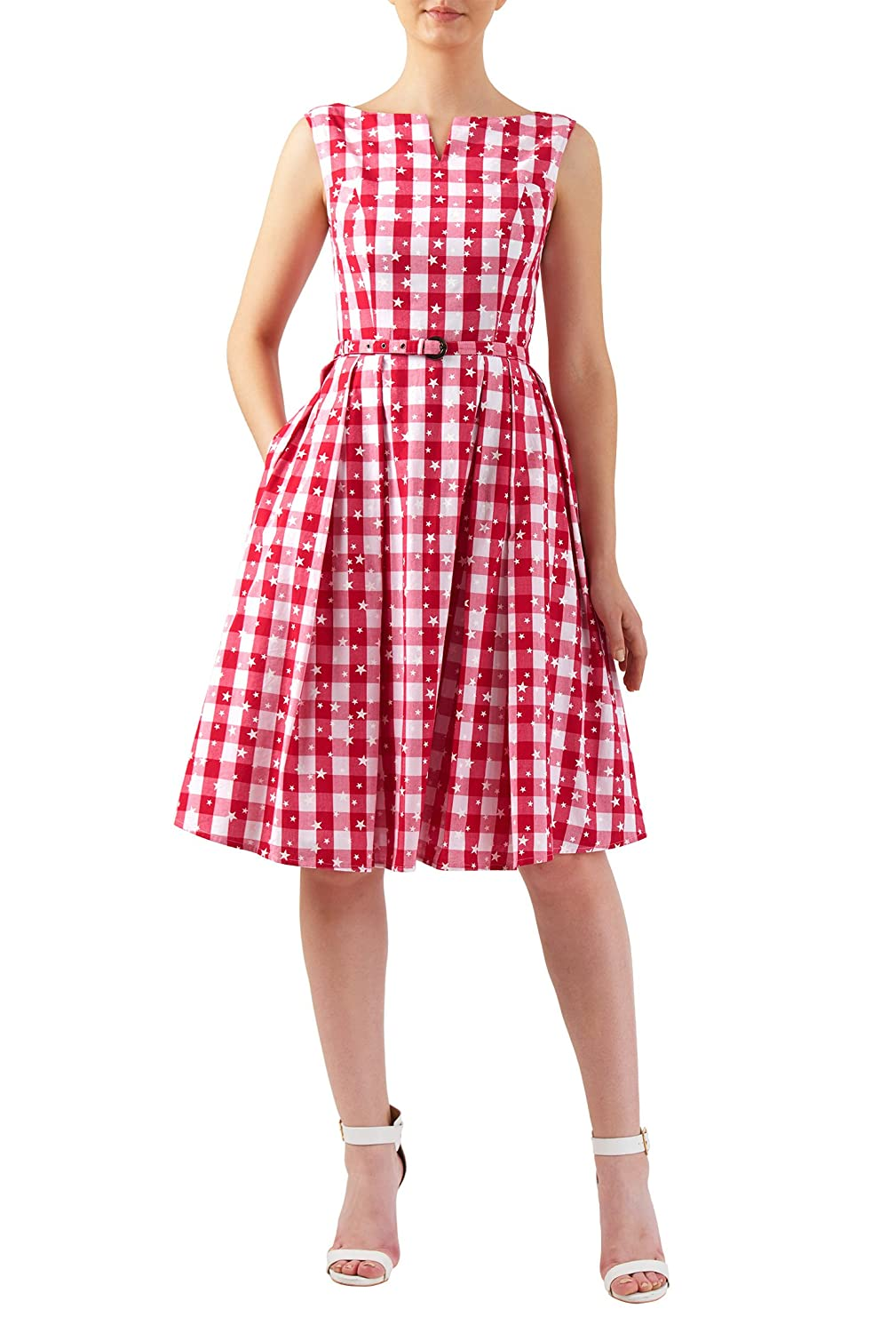 Vintage Inspired Clothing Stores  Star print gingham check cotton midi dress $65.95 AT vintagedancer.com
