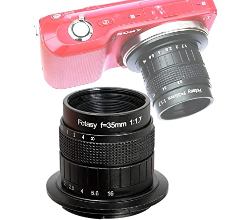 Fotasy 35MM F1 7 Lens for Sony E-Mount Camera, Multi Coated Manual E-mount  Lens fits Sony NEX-5R NEX6 NEX7 a3100 a51000 a6000 a6100 a63000 a6400 a6500