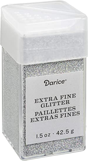 Bling Extra Fine Glitter 1.5 Ounces Canister w/Pour or Shake Lid - Silver