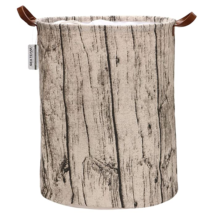 Sea Team Medium Size Tree Stump Design Canvas Fabric Laundry Hamper Collapsible Storage Basket with PU Leather Handles and Drawstring Cover for Kid's Room, 17.7 by 13.8 inches, Waterproof Inner