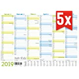 5er Pack Premium Tafelkalender 2019 A4 (29,7x21cm) mit Ferienübersicht und kleiner Übersicht Folgejahr, sehr hochwertiger 400g Karton