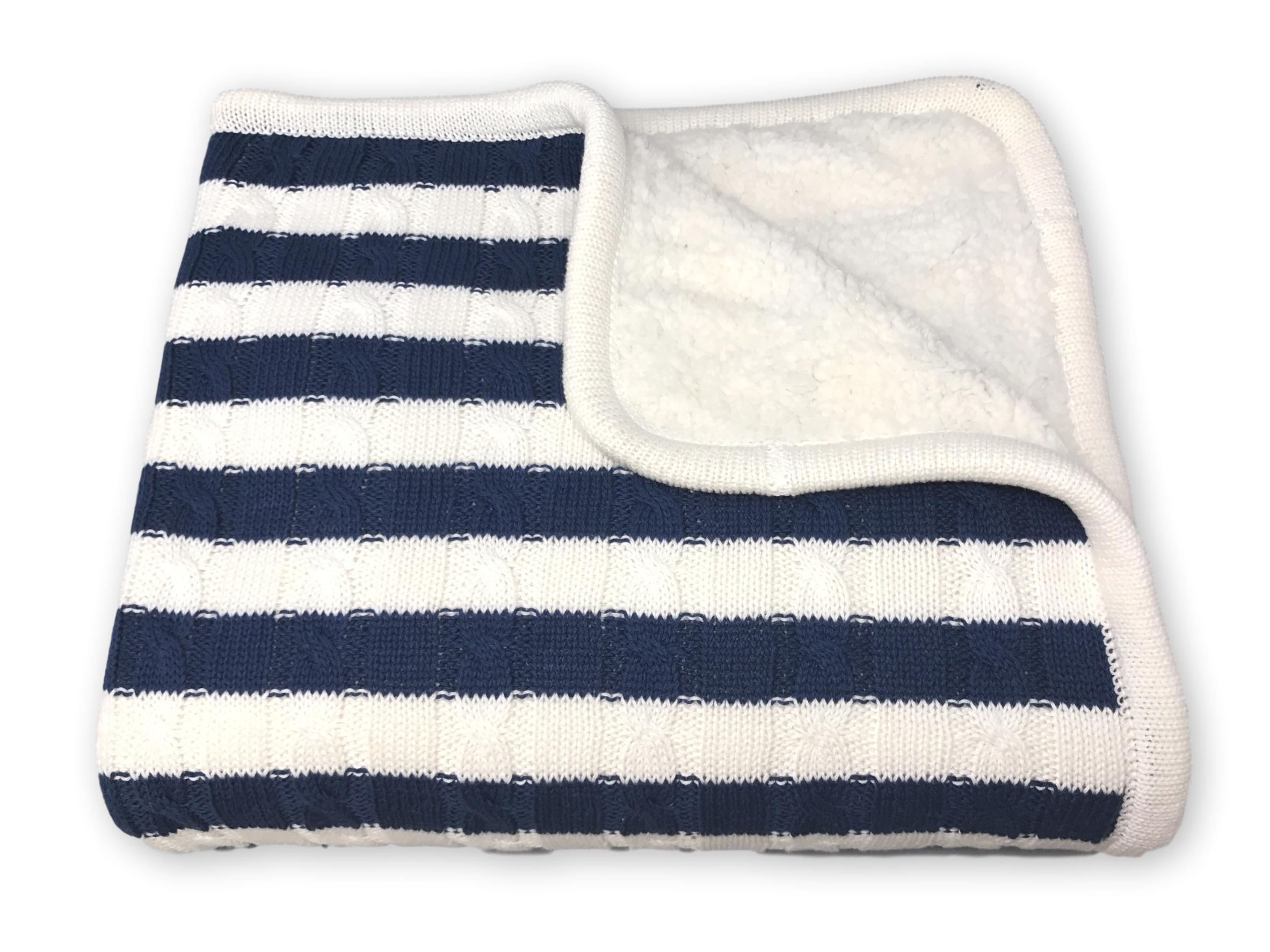 effe bebe Sweet Stripe Cotton Cable Knit Sherpa Baby Blanket 30''x40'' Navy