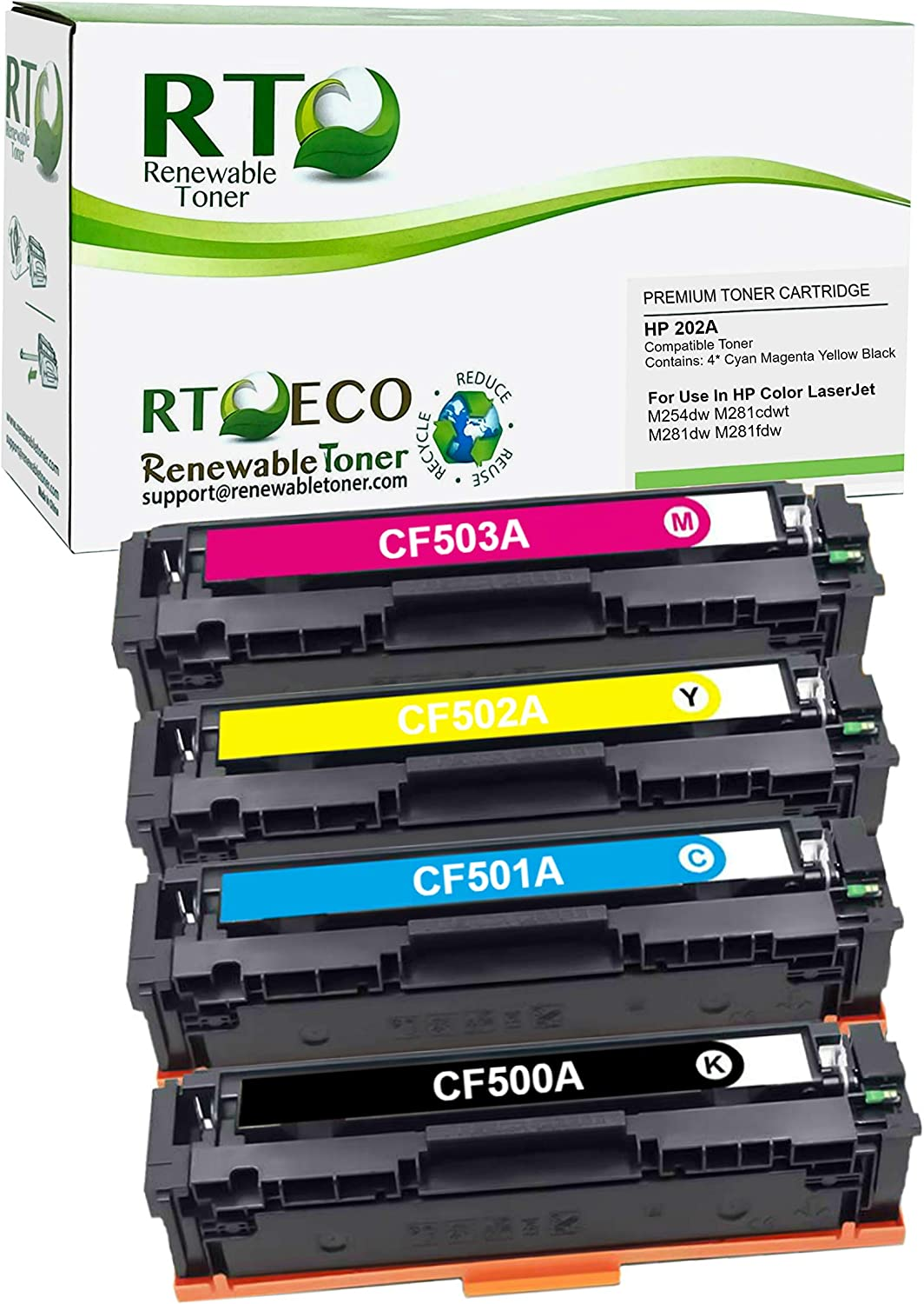 Renewable Toner Compatible Toner Cartridge High Yield Replacement HP 202A for Color Laserjet Pro M254 M280 M281 (Cyan, Magenta, Yellow, Black, 4-Pack)