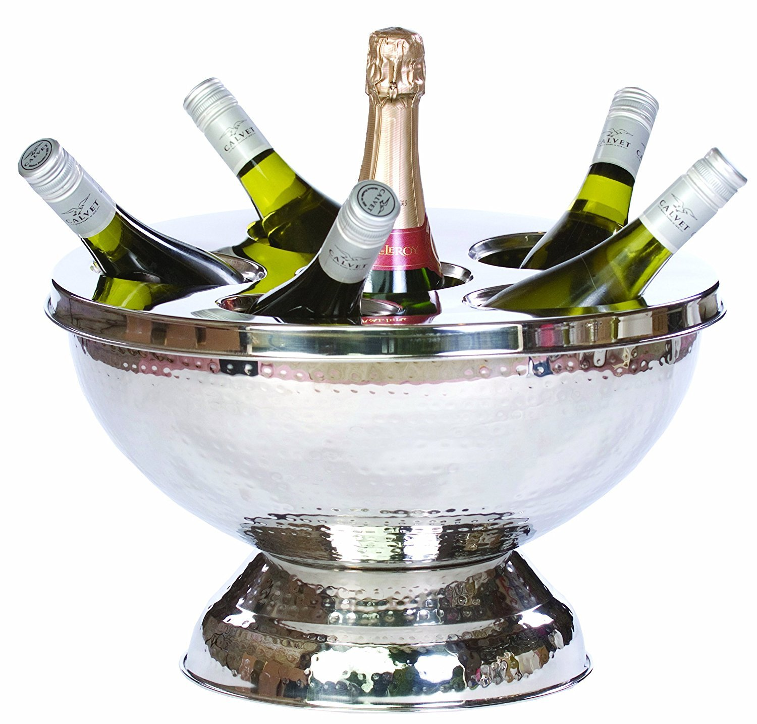 Hammered Finish with Lid Kosma Stainless Steel Punch Bowl with Lid Wine Cooler Champagne Cooler Size: 40cm Party Tub