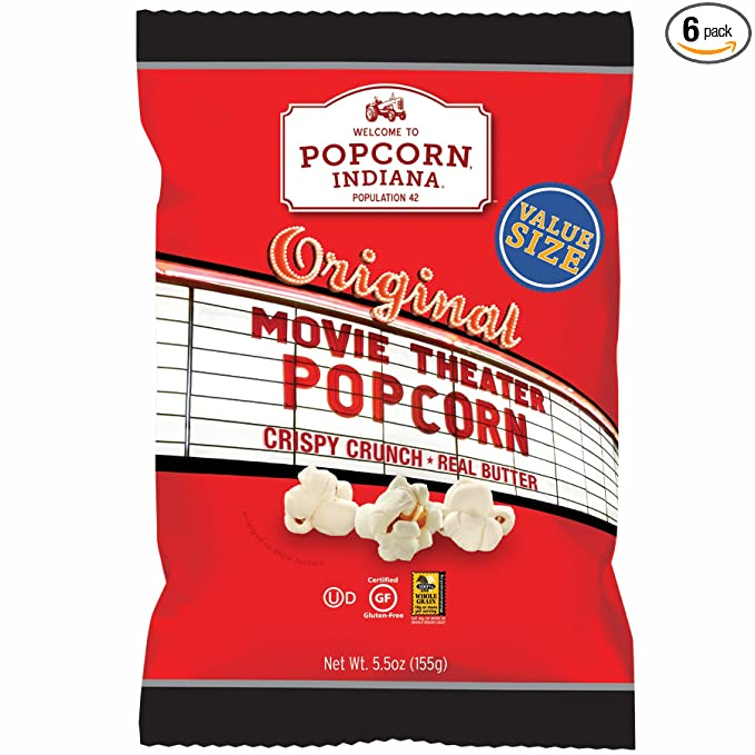 Amazon Com Popcorn Indiana Popcorn Original Movie Theater 5 5 Ounce Pack Of 6