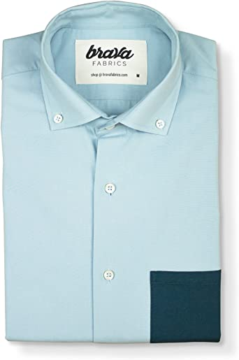Brava Fabrics | Camisa Hombre Manga Larga Estampada | Camisa Azul para Hombre | Camisa Casual Regular Fit | 100% Algodón | Modelo Blue Essential | Talla 3XL: Amazon.es: Ropa y accesorios