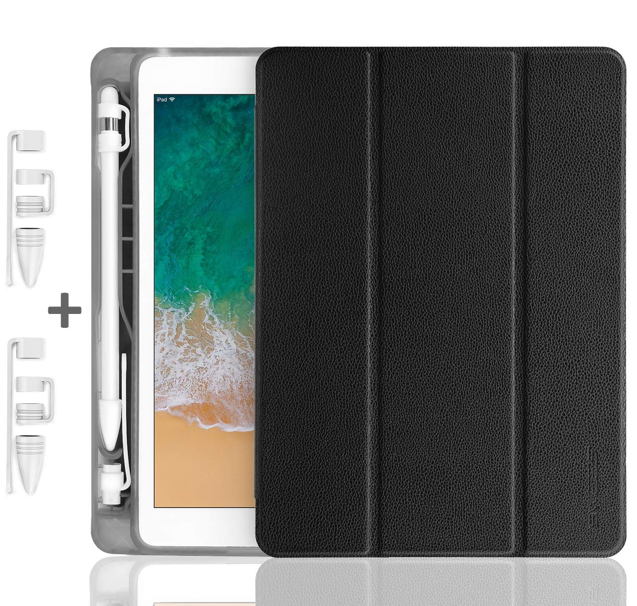 SWEES Compatible iPad 9.7 2018/2017 Case with Pencil Holder, Shockproof Durable Leather Smart Cover Auto Sleep/Wake with Apple Pencil Cap Holder Compatible iPad 9.7 inch 6th/5th Generation, Black