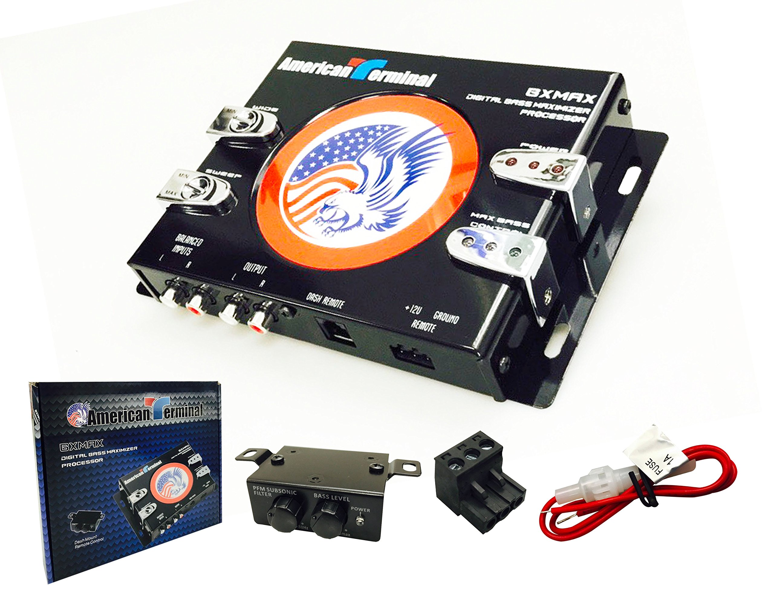 American Terminal BXMAX Digital Bass Maximizer Processor with Dash Mount Remote Control by American Terminal