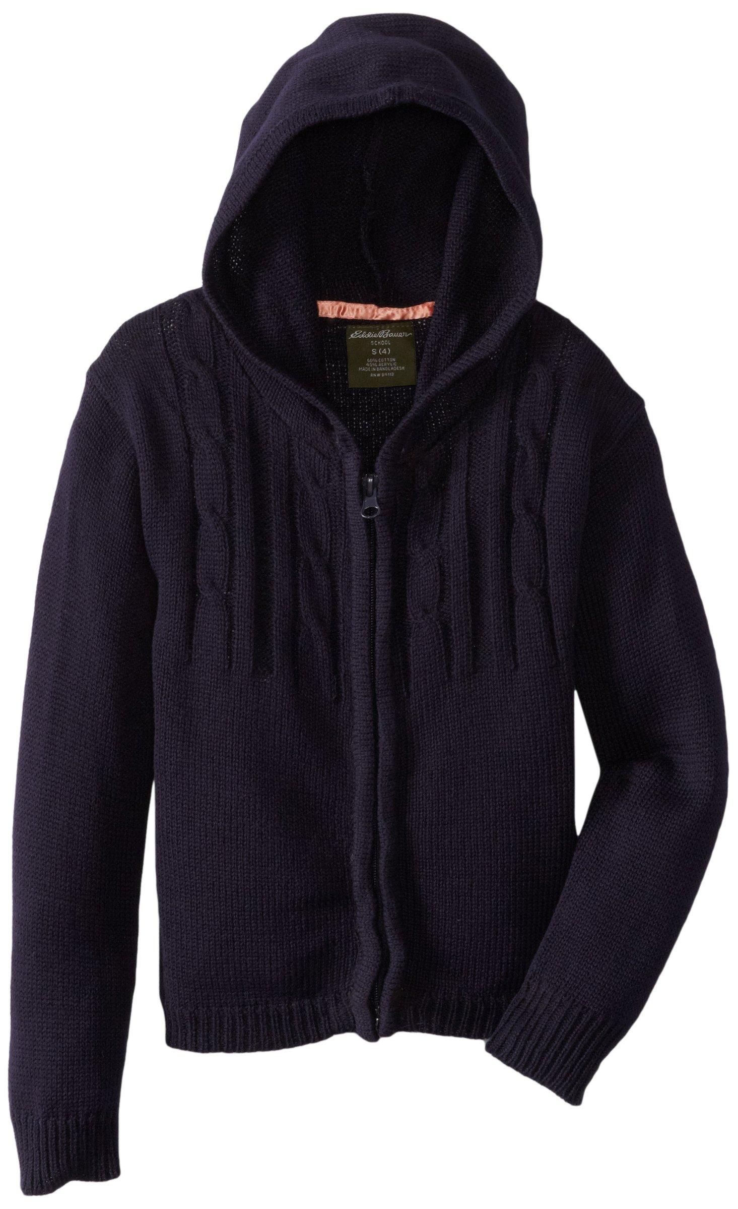 Eddie Bauer Girls' Sweater (More Styles Available), Navy Zip, 6X