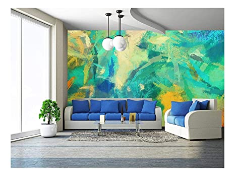 Wall26 Art Abstract Painted Background With Green Blue And Orange Blots Removable Wall Mural Self Adhesive Large Wallpaper 100x144 Inches
