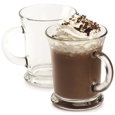 Circleware 66642 Flavor Glass Coffee/Tea Mugs, Set of 4, 12 oz, Clear