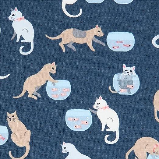Tela azul oscuro de algodón con gatos y peceras: Amazon.es: Amazon.es