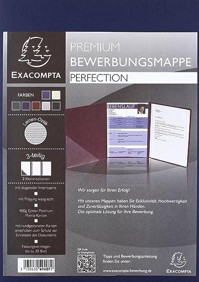 Exacompta 49407B Bewerbungsmappe (3-teilig mit 2 Klemmschienen und Innentasche, Kapazität 30 Blatt, Manila-Leinen-Karton, 400 g, Nature Future, DIN A4) 1 Stück dunkelblau