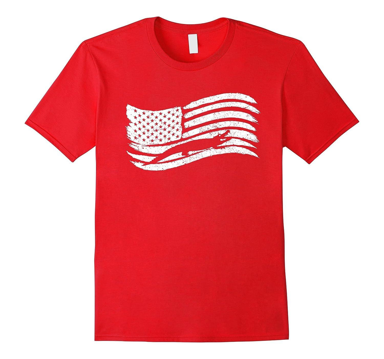 American Flag T-Shirt With Crocodile Alligator Vintage Look-CL