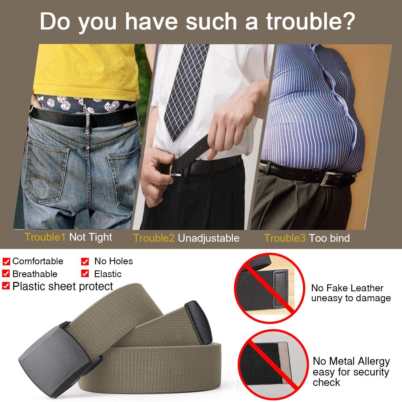 Men Elastic Stretch Web Belt Casual Jeans Waist Belt Adjustable Plastic Buckle Outdoor Belt 44 Inch