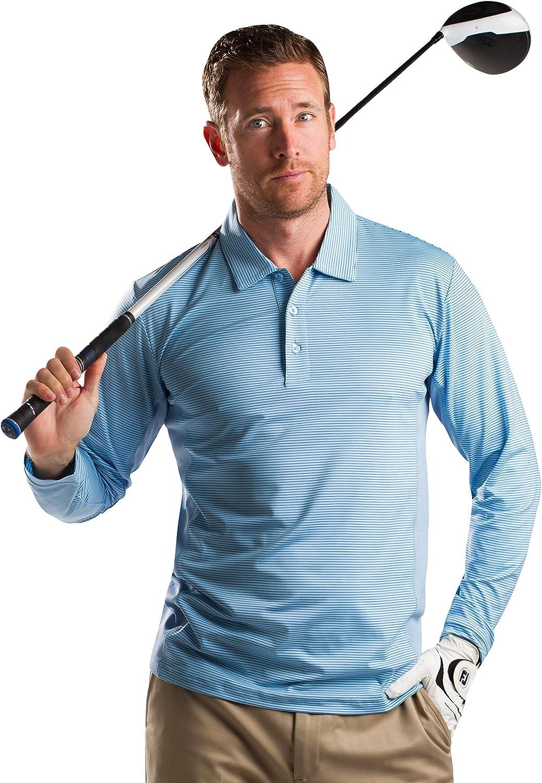 SanSoleil Men's SolCool UV 50 Long Sleeve Stripe Button Polo