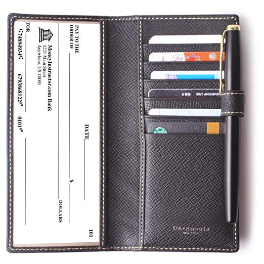 leather checkbook cover for women men rfid credit card holder