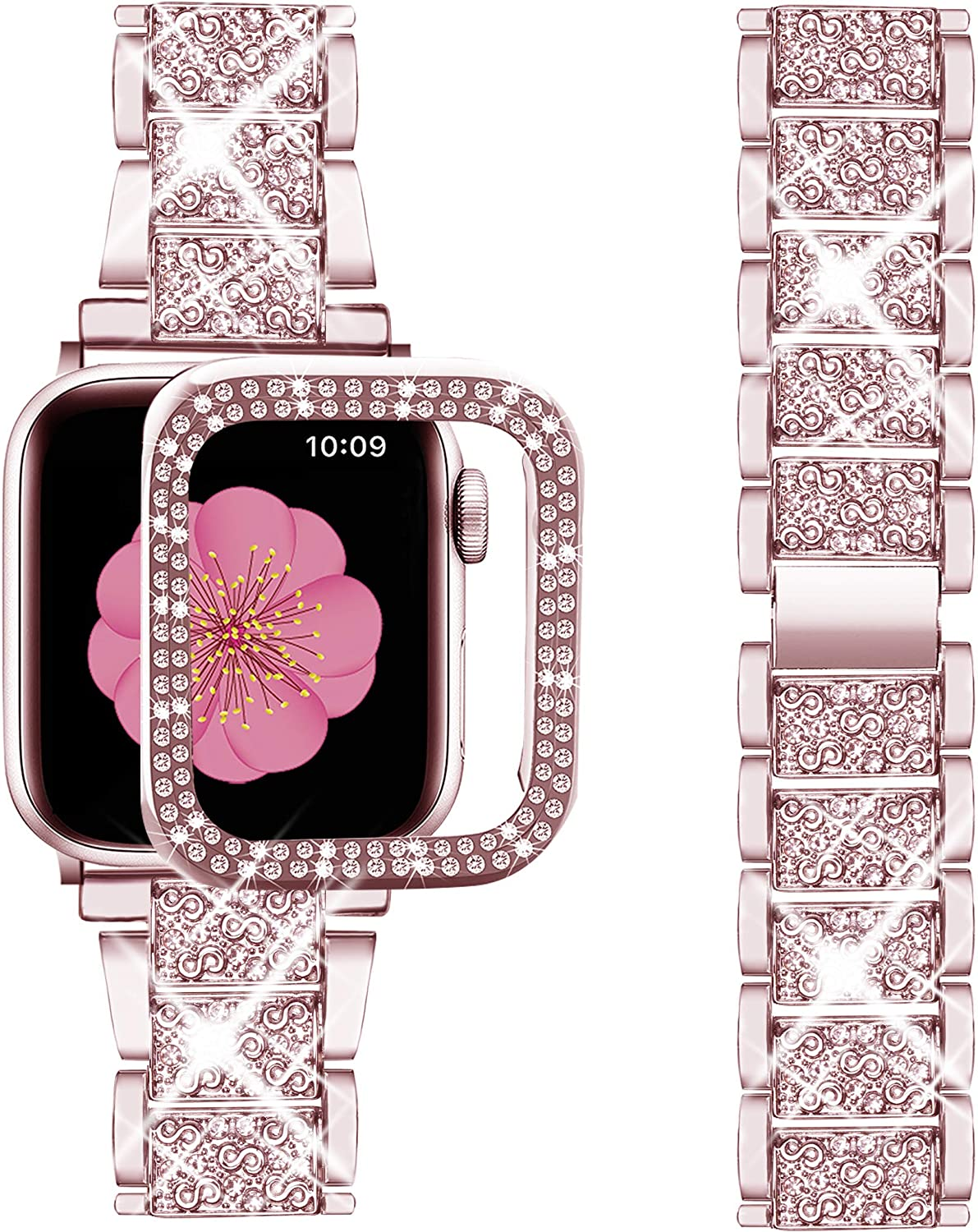 Supoix Compatible with Apple Watch Band 42mm + Case, Women Jewelry Bling Diamond Metal Strap & 2Pack Bumper Frame Screen Protector for iWatch Series 3/2/1(Rose Pink/42mm)