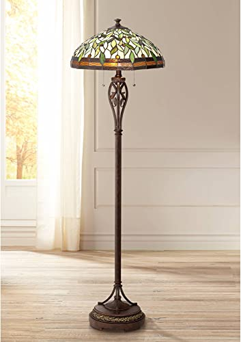 Leaf and Vine II Traditional Floor Lamp Bronze Tiffany Style Stained Glass Shade for Living Room Reading Bedroom – Robert Louis Tiffany
