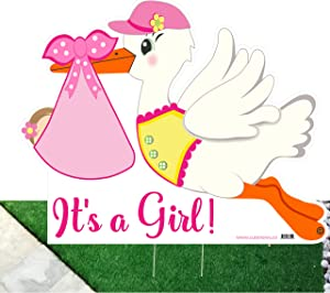 Cute News It's a Girl Stork Yard Outdoor Sign - Baby Birth Lawn Announcement - Welcome Home Newborn Decoration - Shower Party Decor - Pink