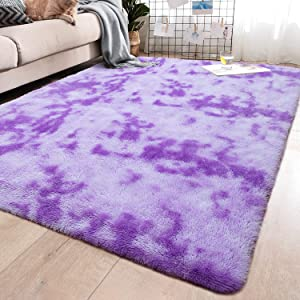 YJ.GWL Soft Indoor Large Modern Area Rugs Shaggy Fluffy Carpets Suitable for Living Room and Bedroom Nursery Rugs Abstract Accent Home Decor Rugs for Girls and Kids 5x8 Feet Purple