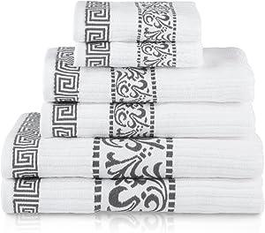 SUPERIOR Decorative Athens 6-Piece Cotton Bath Towel Set, Grey