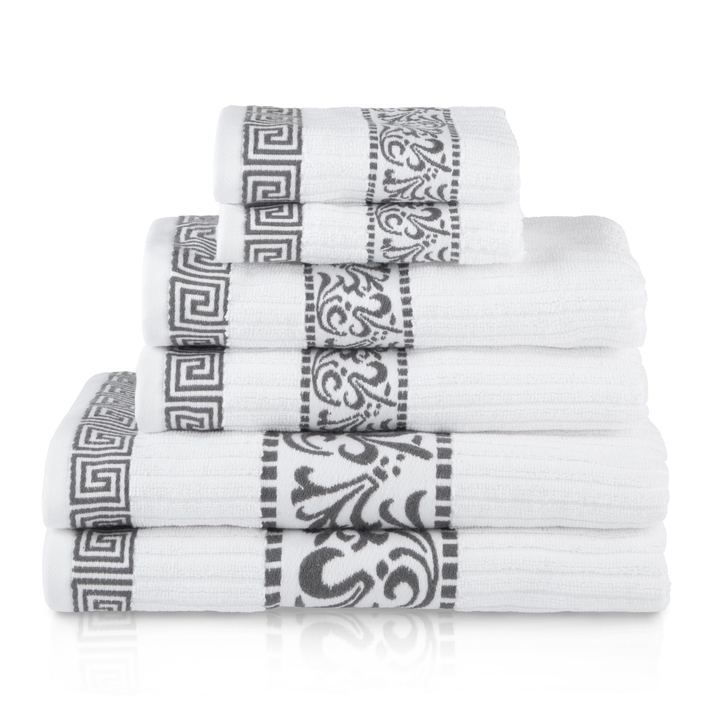 Superior Athens 100% Cotton, Soft, Extremely Absorbent, Beautiful 6 Piece Towel Set, Grey