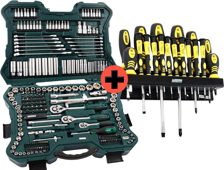 Brüder Mannesmann - Juego de llaves de vaso, llaves de vaso y puntas con maletín de herramientas, 215 piezas + juego de destornilladores Mannesmann con puntas magnéticas y soporte de pared, 18