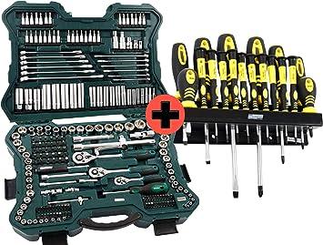Brüder Mannesmann - Juego de llaves de vaso, llaves de vaso y puntas con maletín de herramientas,