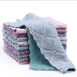 Kitchen Cloth Dish Towels,Dishcloths, Absorbent Coral Velvet Dishtowels, Nonstick Oil Washable Fast Drying (10 Pack)