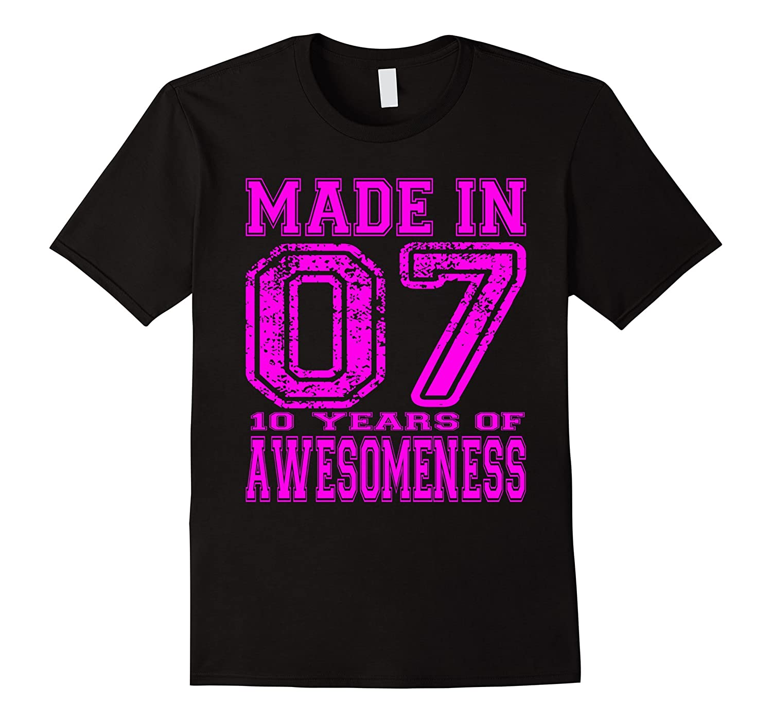 10th Birthday Gift Tshirt Made In 07 10 Years of Awesomeness-TH