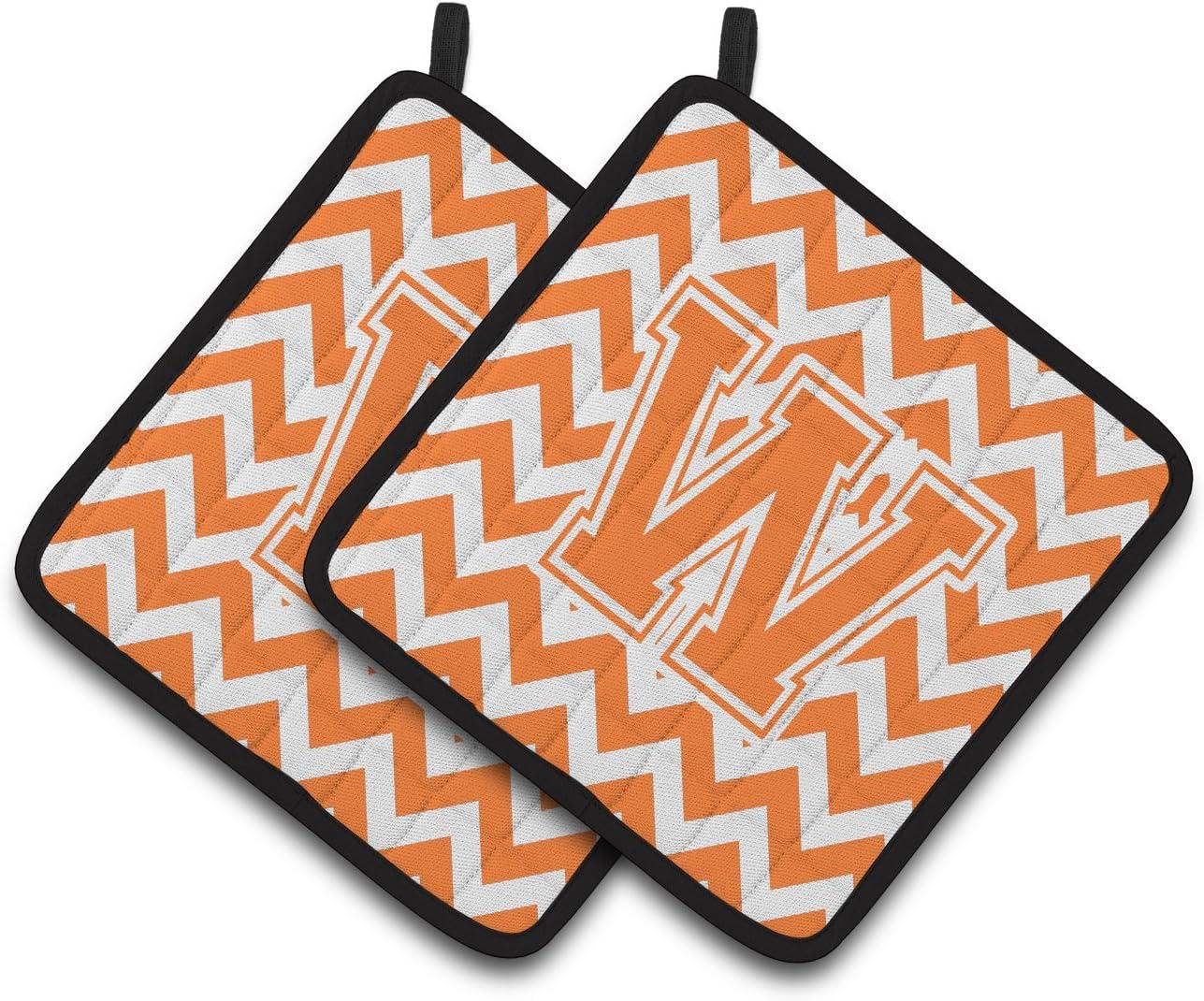 Multicolor Carolines Treasures Letter W Chevron Orange /& White Pair of Pot Holders CJ1046-WPTHD 7.5HX7.5W