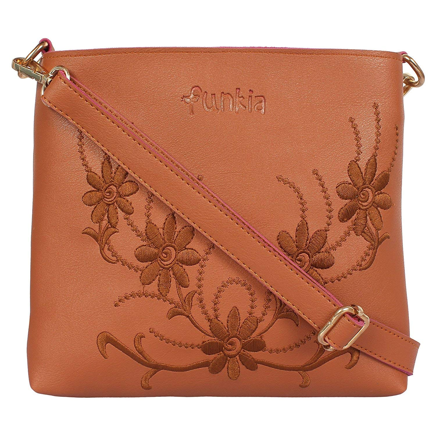 Funkia sling bags for womens | sling bag for girls stylish trendy with double partition/back zip and inner zip - two colors