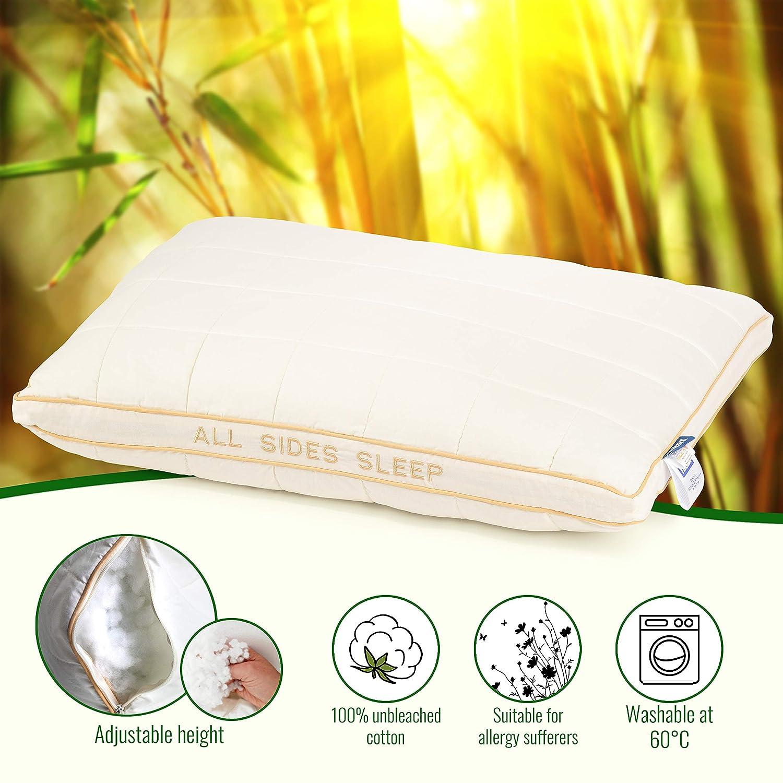 Vitapur innovadora Almohada para Todas Las Posiciones Almohada Dormir para Seca y los Restos Dormir Entorno/ /Salud Coj/ín de algod/ón org/ánico y Bamboo