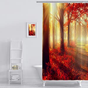 Shower Curtain Autumn Fall Scene Beautiful Autumnal Park Beauty Nature Scene Autumn Trees and Leaves Foggy Prints Bathroom Decor Set with Hooks Forest Tree Graphics Shower Curtain Liner 72 x 84 Inches